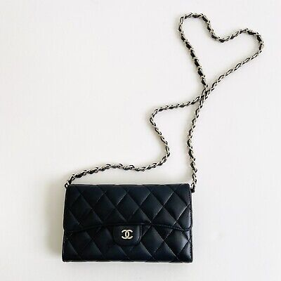 AU810.85 • Buy Authentic CHANEL Quilted Black Leather Wallet WOC Crossbody Bag On Chain Small