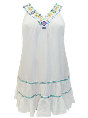 £15.99 • Buy Evans Tunic Top Blouse Plus Size 18 20 22 24 26 28 Ivory Embroidered Tiered