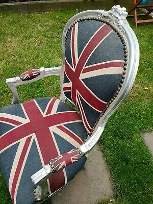 £1.20 • Buy Union Jack Throne. Shabby Chic. Silver Frame, Cloth Seat,back. Hand Upholstered