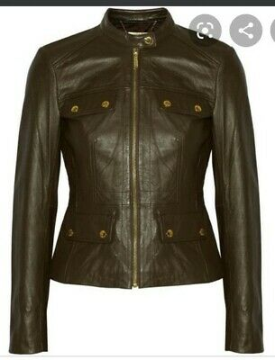 £29.99 • Buy Michael Kors Women's Khaki Gold Zip Button Fitted Leather Jacket UK 12