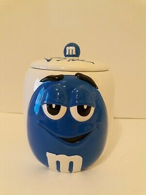 $10 • Buy 2004 M&Ms Galerie Cookie Jar White With Blue M&M Character With Lid