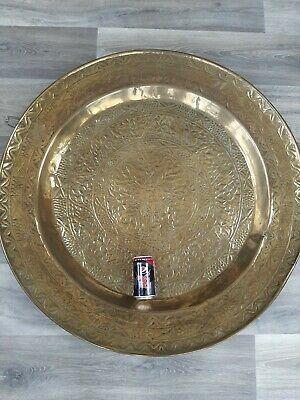 £15.99 • Buy Huge Brass Charger Plaque Plate. Middle Eastern? Indian?