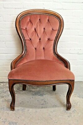 £49.99 • Buy Antique Victorian Style Beech & Upholstered Nursing Chair Armchair (Can Deliver)