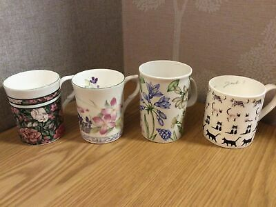 £1.99 • Buy Collection Of 4x Fine Bone China / Porcelain Mugs - Floral & Cat Designs