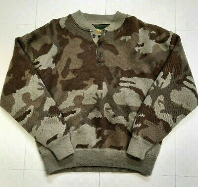 $129.95 • Buy Cabelas Mens L Large Wool Outfitter Camo Henley Lined Pullover Sweater Heavy