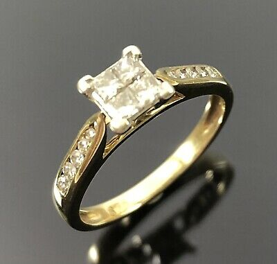 AU295 • Buy Ladies 9ct SOLID Yellow Gold & Diamond Princess Cut, Invisible Set Ring Size J