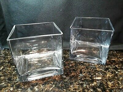 £4.36 • Buy Square Cube Heavy Glass Vase / Candle Holders ~ 4  X 4  X 4