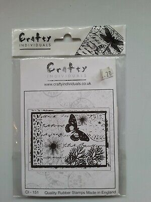 £0.99 • Buy Crafty Individuals. Butterfly Postcard. Rubber Stamp, Mounted.CI-151Used.