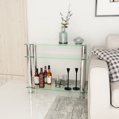 £44.88 • Buy Modern 3 Tier Glass Console Table With Chrome Legs Hall Table Home Living Room