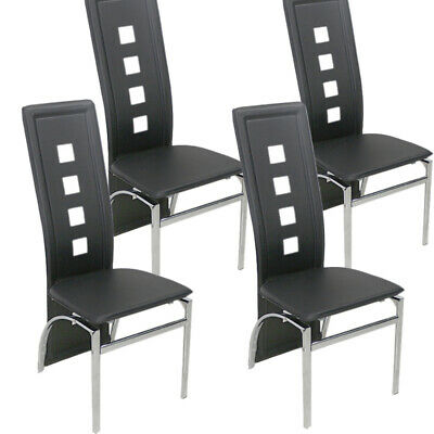 £99 • Buy Modern 4 High Back Dining Chairs/4 Seats Kitchen Black Chairs Dining Room