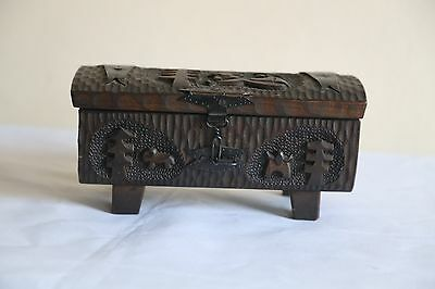 £25 • Buy Antique Hand Carved Decorative Wooden Box Container