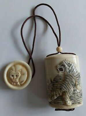£165 • Buy Antique 3 Compartment Japanese Carved Bovine Bone Inro With Netsuke Disc Tiger