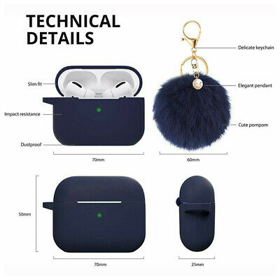$ CDN7.46 • Buy Silicone Case For AirPods Pro 2 1 Case With Fluffy Ball Keychain Shockproof US