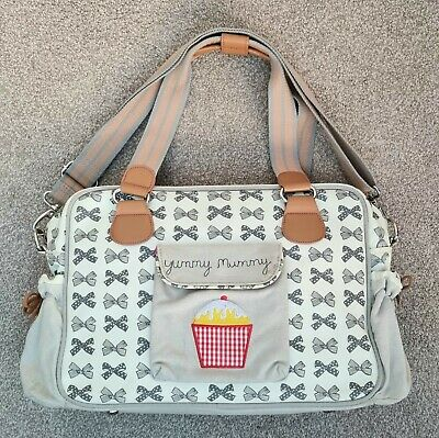 £39.50 • Buy PINK LINING Yummy Mummy Grey Bows Changing Bag & Mat Excellent Condition