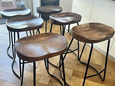 AU300 • Buy Wooden Tractor Seat Bar Stool 65cm - 6 Pieces.