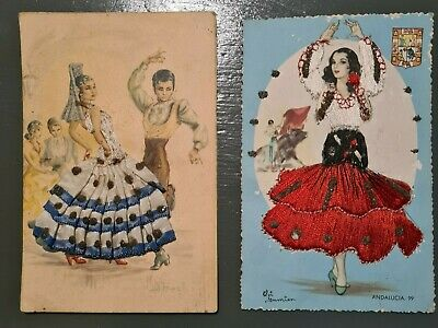 £5 • Buy Vintage Embroidered Spanish Postcards X 2
