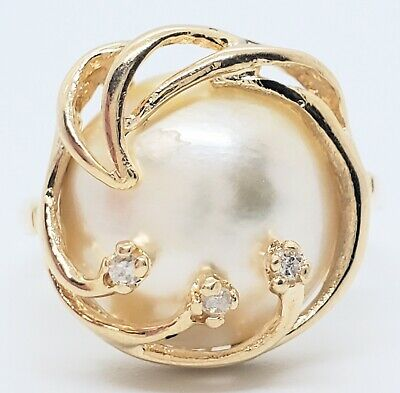 $26 • Buy 14k Yellow Gold 13mm Culture Mabe Pearl 3 Diamond Freeform Size 5.5 Ring 4.4gram