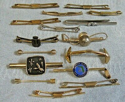 £7.18 • Buy Collection Of 16 Mens Vintage COLLAR BAR Tie PIN DUMBBELL Costume Jewelry Lot 2D
