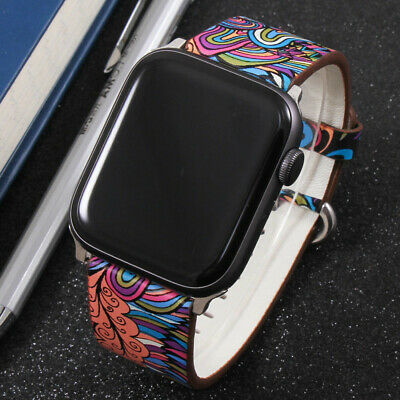 $ CDN13.68 • Buy For Apple Watch IWatch Series 5 4/3/2/1 Floral Paragraph Leather Band Strap 44mm