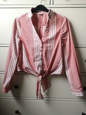 £5 • Buy River Island Red Stripe Cropped Pin Up Shirt