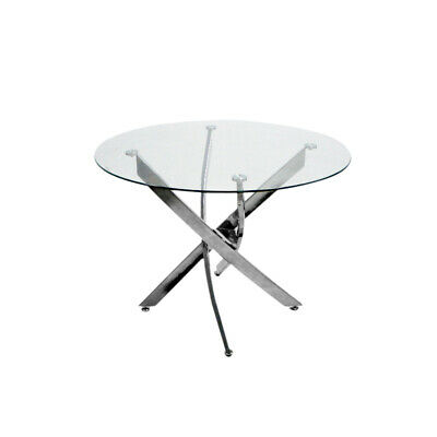 AU182.64 • Buy  Clear Round Glass Dining Table With Chrome Leg Dining Table / Cafe Table 100 Cm