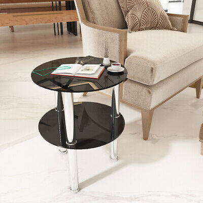 AU46.10 • Buy 2 Tier Black Round Glass Table Shelf Side End Table New Design Coffee Table