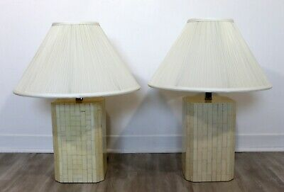 $950 • Buy Modern Pair Of Tessellated Faux Marble Table Lamps 1970s Maitland Smith Style
