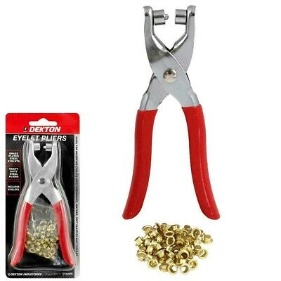 £3.95 • Buy Eyelet Fabric Punch Pliers Leather Canvas Hole Puncher Tool 50 Brass Eyelets