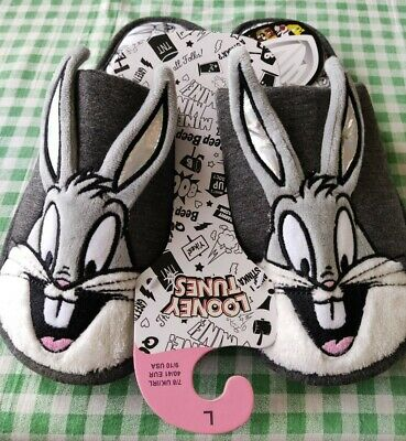 £9.50 • Buy Looney Tunes Bugs Bunny Slippers For Ladies Size Large 7-8 New With Tag..NEW