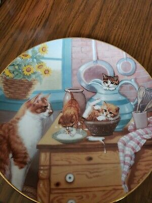 £3.60 • Buy Table Manners Cat Plate Country Kitties 1988 Hamilton Plate Gre' Gerardi 3999G