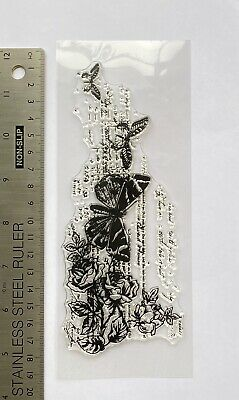 £6.99 • Buy Clear Rubber Stamps Background Butterfly Flowers Script Grid Pattern Steampunk