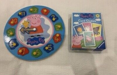 £5 • Buy Peppa Pig Wooden Clock Puzzle & Card Game