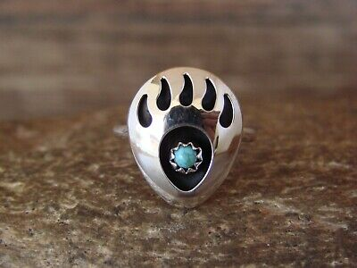 £10.81 • Buy Navajo Indian Jewelry Sterling Silver Turquoise Bear Paw Ring! Size 6.5 - L