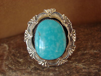£72.09 • Buy Navajo Jewelry Sterling Silver Turquoise Ring By Benally! Size 6 1/2