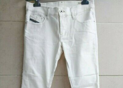 £50 • Buy Diesel White Jeans Low Rise / Hipster Waist 28  + Leg 30  With Zip Details