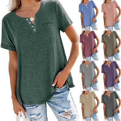 £9.99 • Buy Summer Womens Oversized Button Down T Shirt Tops Ladies Short Sleeve Blouse Tee
