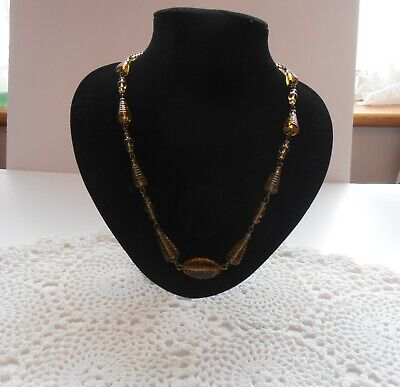 £9.99 • Buy ANTIQUE ART DECO 1930s Czech CARVED AMBER Glass Bead NECKLACE