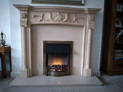 £50 • Buy Dimplex Electric Fire And Ornate Fire Surround With Marble Back Panel And Hearth