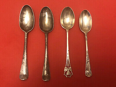 £18 • Buy 4 Four Antique Solid Silver Tea Spoons - 18th And 19th Century - 53 Grams