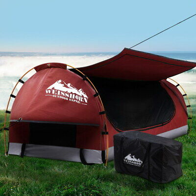 AU217.90 • Buy Weisshorn Swag King Single Camping Swags Canvas Free Standing Dome Tent Red