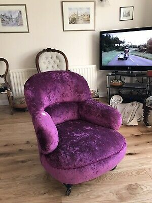 £350 • Buy A Beautiful Newly Upholstered Rare Victorian Metal Frame Nursing Chair.