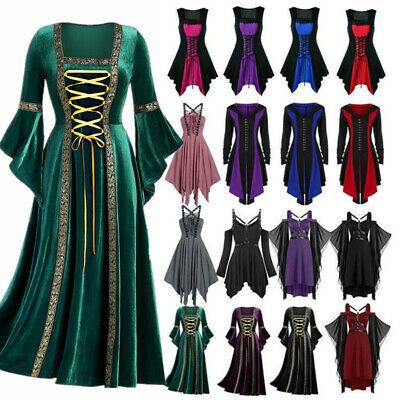 AU48.73 • Buy Womens Vintage Gothic Punk Lace Up Victorian Medieval Witch Cosplay Fancy Dress;