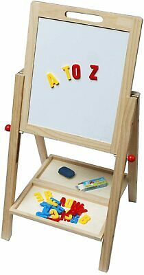 £23.99 • Buy Double Sided Kids Wooden Easel White Black 3 In 1 Magnetic Drawing Board Toy
