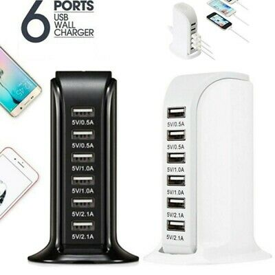 £8.99 • Buy 30W Desktop 6 USB Rapid Charger Charging Tower Extension Lead Office Travel UK
