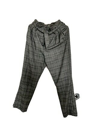 £2 • Buy H&M Grey Paperbag Tie Waist Dogtooth Check Grey Trousers Size 8-10