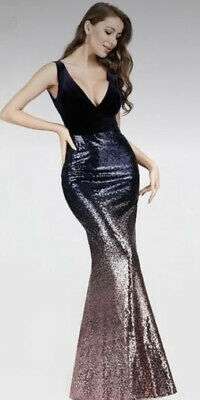 £28.50 • Buy Bnwt 'Ever Pretty' Sequinned Vintage Glamour Fishtail Evening Dress Sz16 UK