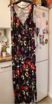 £2.95 • Buy PEACOCKS Black/red/yellow/turq/cream Floral Maxi Dress Size 22
