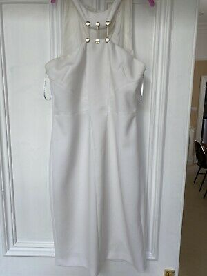 £25 • Buy Versace White Pencil Dress Size 12 ( 46)excellent Condition With Gold Detail