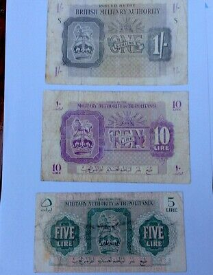 £37 • Buy Libya 🇱🇾 Military Authority In Tripolitania 1943 British Occupied Set 3 Notes