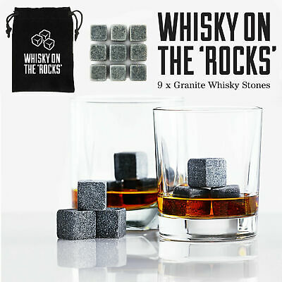£3.75 • Buy Whiskey Ice Stones 9 PCS Reusable Granite Cooler Cubes Scotch Whisky Rocks Pouch